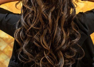 Long flowing dark hair after Hair Extensions